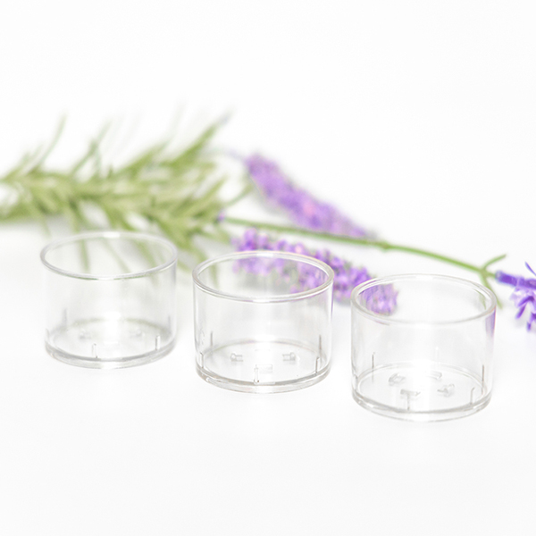 PC19 transparent tealight candle container