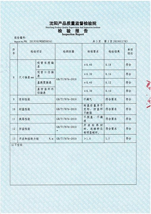 Nozzle inspection report (food grade)