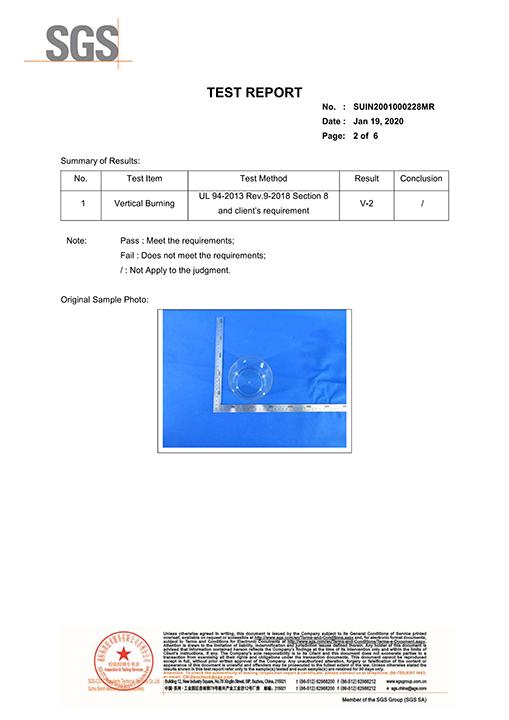 SGS-UL-94 Flame retardant certification